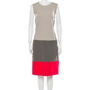 Diane von Furstenberg Sharby Sleeveless Colorblock Dress Gray Coral 10